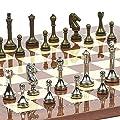 Astor Row Staunton Metal Chessmen & Chelsea Park Chess Board from Spain