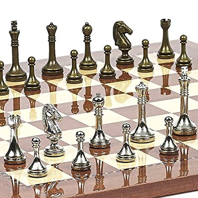 Astor Row Staunton Metal Chessmen & Chelsea Park Chess Board from Spain