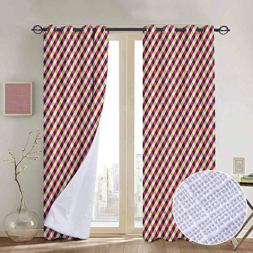 NUOMANAN Window Curtain Fabric Geometric,Colorful Checkered Rhombuses Pattern Grid Style Illustration with Chevron Zigzags, Multicolor,Rod Pocket Curtain Panels for Bedroom & Living Room 84