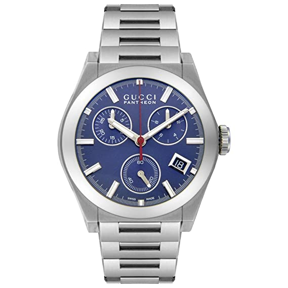 d9180f10328 Gucci Men s YA115413 115 Collection Pantheon Chronograph Blue Dial Watch   Amazon.ca  Watches
