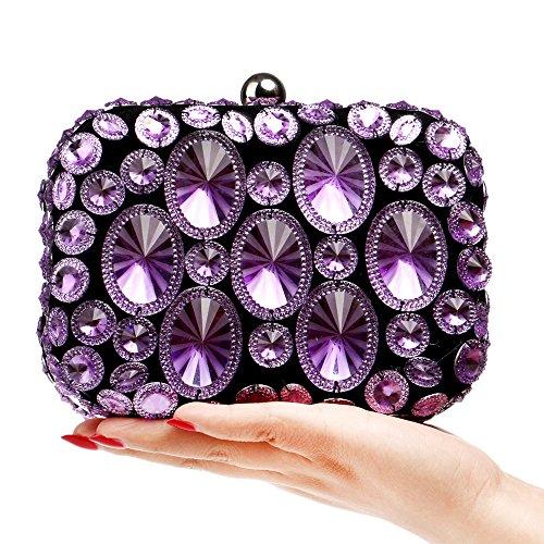 Prom Coloré Purple à Banquet Party Robe Soirée Dames Main Pochette Sac Main Diamant Sac GODW à 0pgqAn