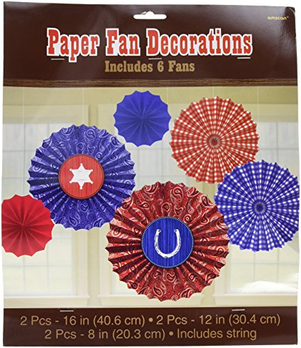 High Riding Western Party Printed Hanging Fan Decoration, Paper, Pack of 6 (Western Party Decorations)