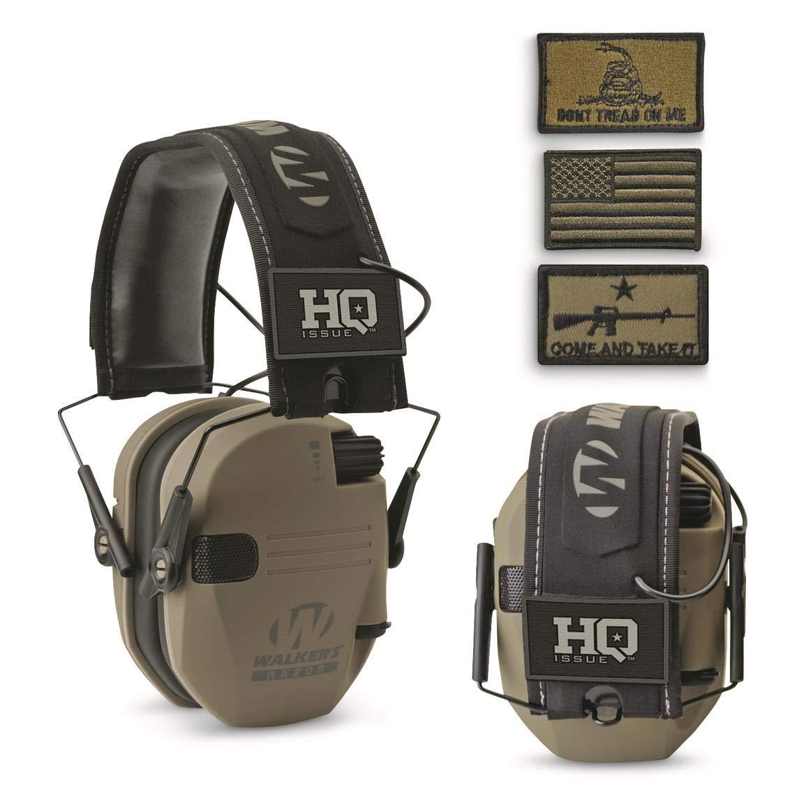 HQ Issue Walker's Patriot Series Electronic Ear Muffs, Flat Dark Earth
