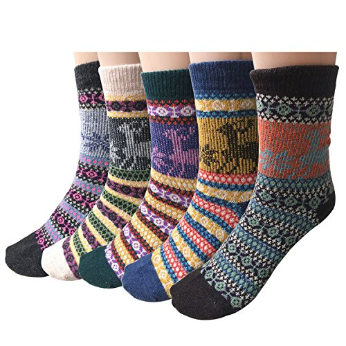 Pack-of-5-Womens-Vintage-Style-Cotton-Knitting-Wool-Warm-Winter-Fall-Crew-Socks