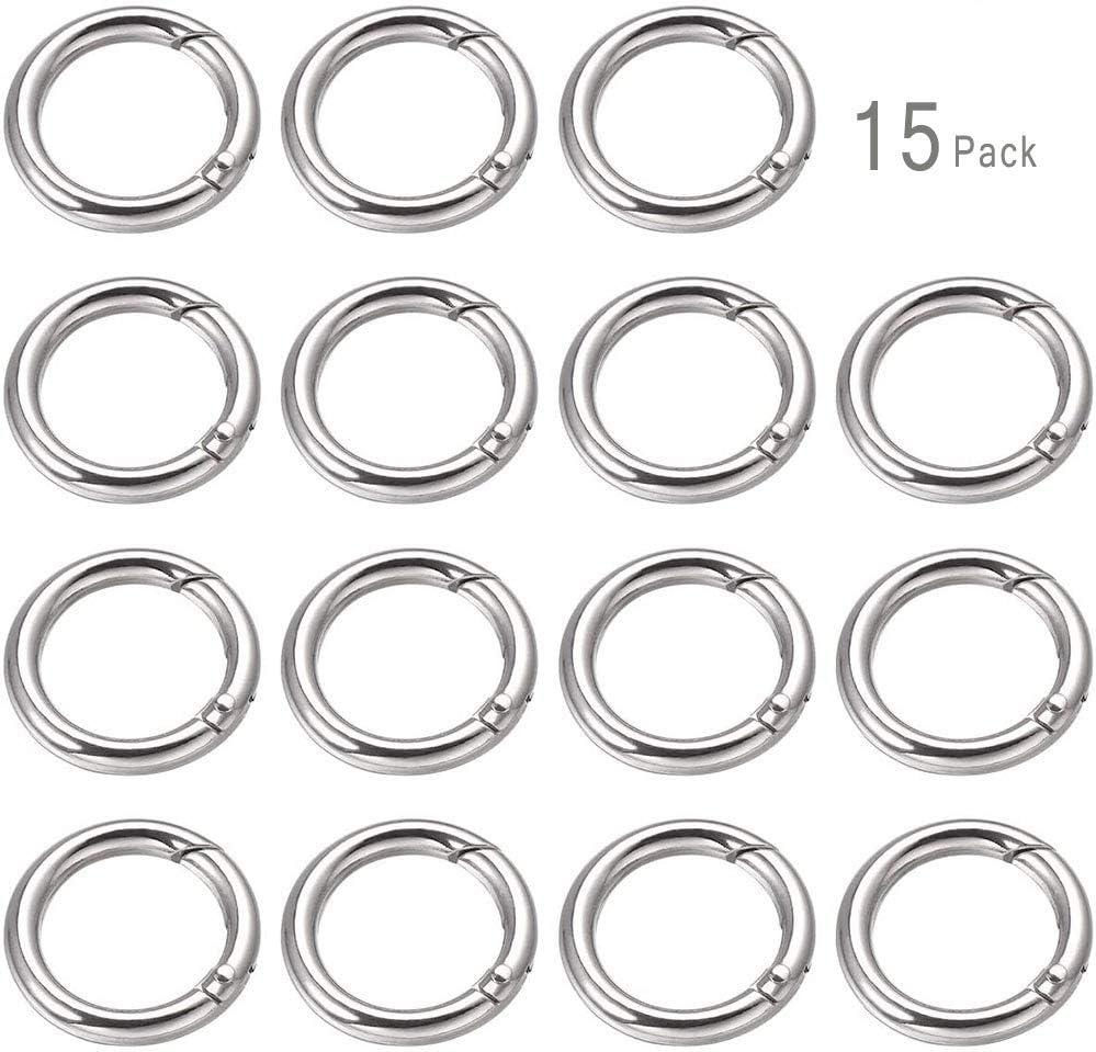 Moapei 15 St/ück karabiner rund,Runde Karabinerhaken Schl/üsselanh/änger Sprung Ringe 25mm /Öffnungsring//Silber