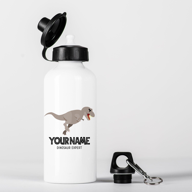 Customized T-Rex Dinosaur Expert Grey Children Kids Personalised Aluminium Water Bottle