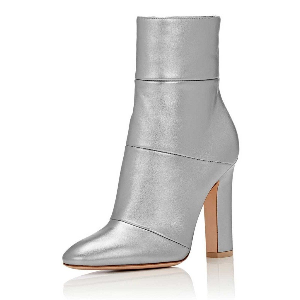 FSJ Women Retro Chunky High Heel Ankle Boots Pointed Toe Booties with Side Zipper Size 4-15 US B074QQ58CG 6.5 B(M) US|Grey Matt