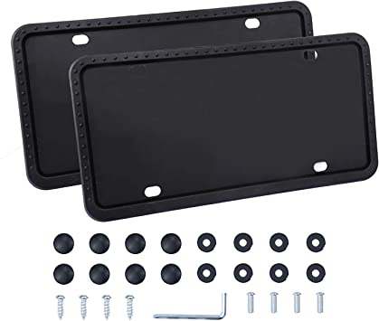 Universal American Auto Black License Plate Frame Rust-Proof Rattle-Proof 2 PCS License Plate Holder Weather-Proof Aujen Silicone License Plate Frame