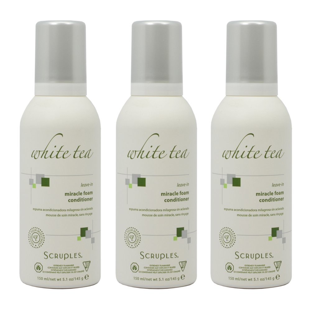 Scruples White Tea Leave-In Miracle Foam Conditioner 150 ml / 5.1 oz Pack of 3