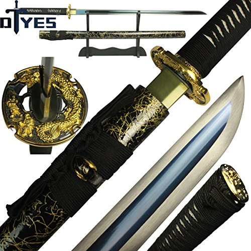 DTYES Handmade Japanese Samurai Katana Sword/Ninja Sword/Shirasaya, Functional, Hand Forged ((Original Ninja Sword) Blue 1095 High Carbon Stee Blade-Dragon Tsuba)