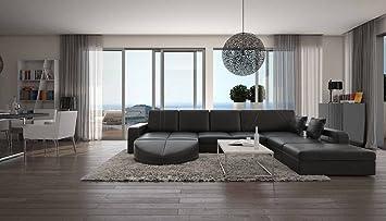 Wohn-Landschaft XXL mit Kunstleder Bezug 335x220 cm L-Form schwarz ...