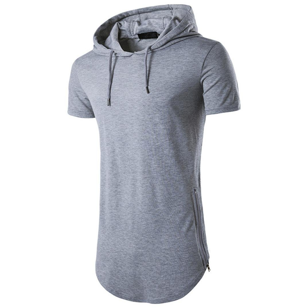 WUAI Men's Short Sleeve Hoodie Casual Fashion Outdoor T-Shirt Blouse (Gray, US Size XL = Tag 2XL)