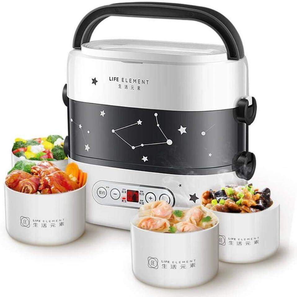 スマート電気ランチボックス小型炊飯器二重層自動暖房セラミックライナースマートタッチLCDの予定タイミング,褐色,220-230V