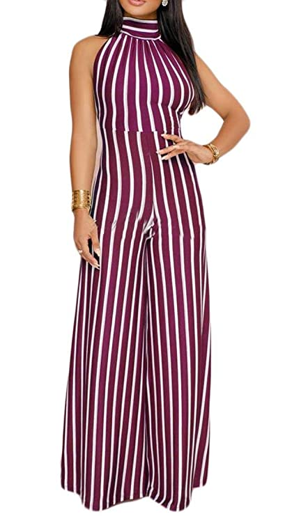 fdc9db7d3574 Image Unavailable. Image not available for. Color  New Fashion Women Halter  Stripe Open Back ...