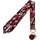 Marvel Deadpool Logo Wide Trading Pin Lanyard ID Holder with Metal Charm