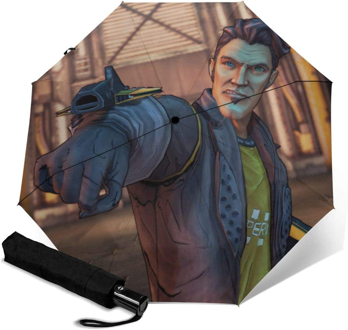 Borderlands Handsome Jack 3D Pattern PG Cloth Lightweight Foldable Tri-fold Umbrealla For Rain Sunshade Anti-UV,Qucik-dry Wind Resistance Automatic Umbrellas