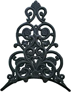 "Import Wholesales Wall Mount Garden Hose Holder Hanger Black Cast Iron Floral & Spade Design 13.25"" Tall"