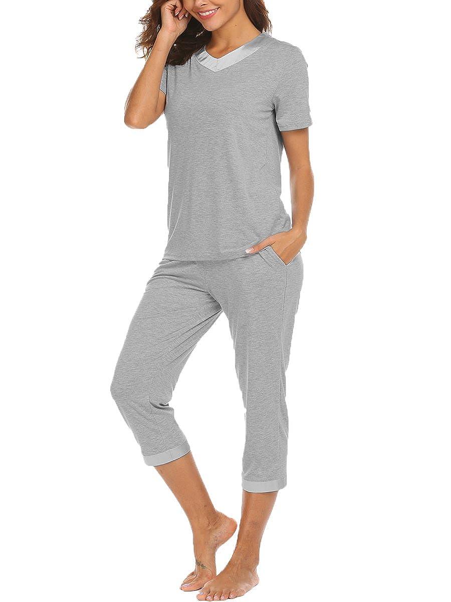 Bluetime Womens Sleepwear Lightweight Summer Short Sleeve Capri Pajama PJ Set