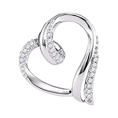 9dd6b0a3e Image Unavailable. Image not available for. Color: Womens Round Diamond  Heart Outline Pendant 1/10-Carat tw, in 10K White