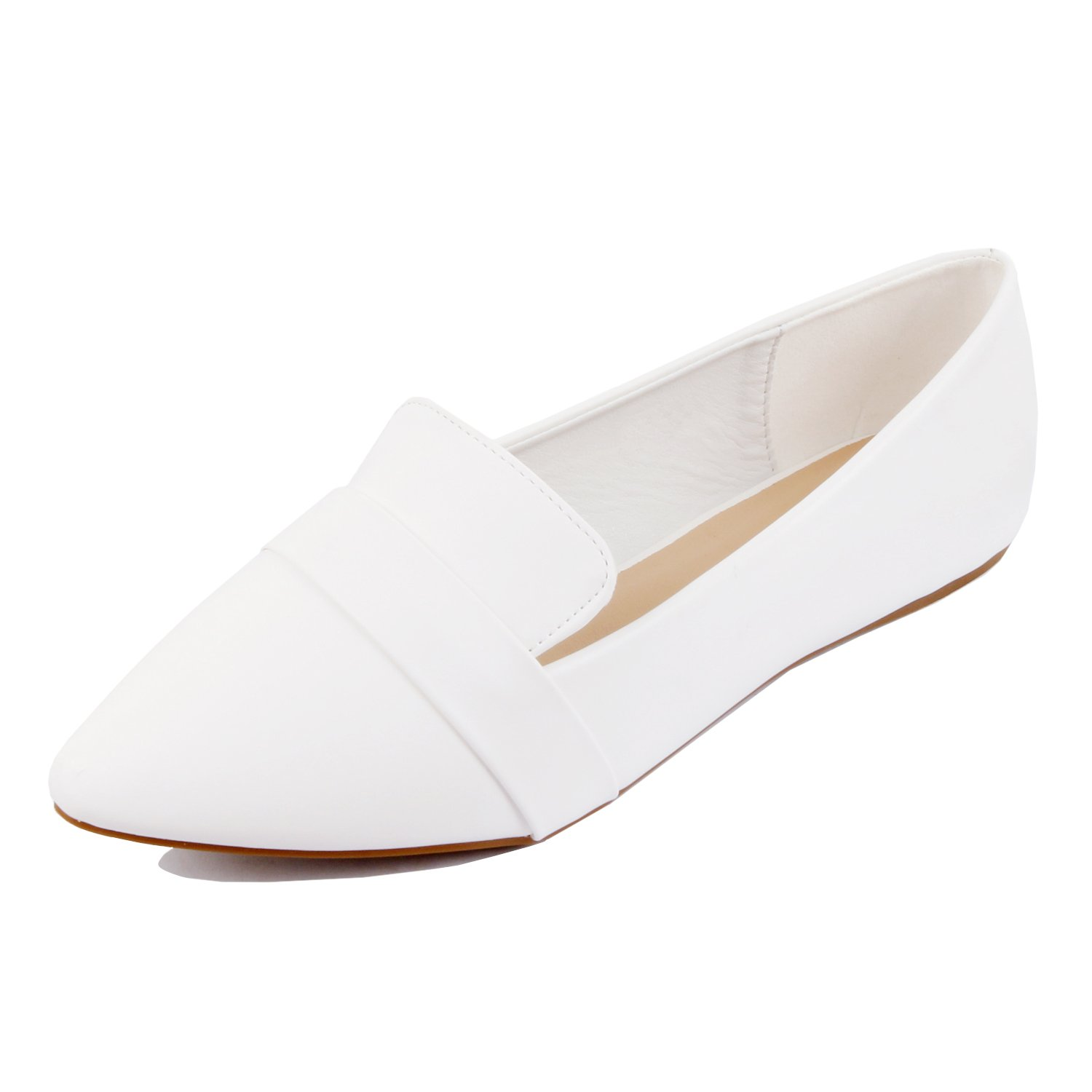 Guilty Heart - Women Soft Comfortable Pointy Toe Slip On Penny Loafer Flats, White, 10 B(M) US