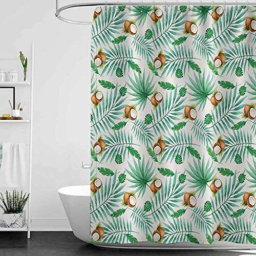 Jouiysce Shower Curtains Long Watercolor,Coconut Fruit Exotic Nature Palm Tree Leaves Aloha Hawaii Polynesian Food,Green Pale Brown W72 x L96,Shower Curtain for Shower stall