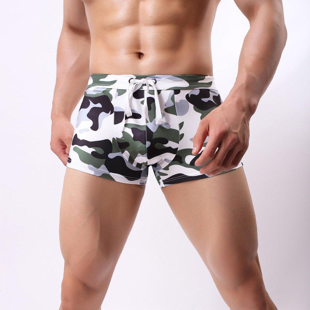 BOOMJIU Men's Underwear Print Boxer Briefs Short Leg Swimming Trunks Camouflage