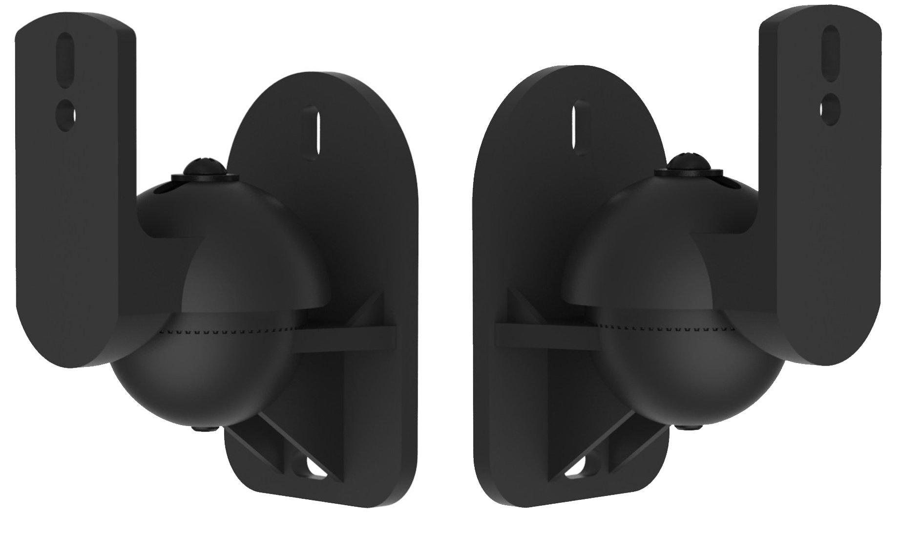 VonHaus Black Universal Wall Mount Speaker Brackets x 2 | 7.7lb Weight Capacity | Swivel & Tilt by VonHaus