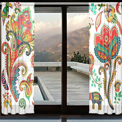 XMCL Multi Color Elephant Sheer Curtains Decorative Long Extra Wide 2 Panels for Living Room Bedroom Kids - Lewis Curtains John Net