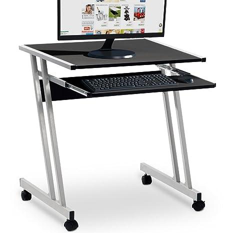 Tisch Platzsparend.Deuba Schreibtisch Computertisch Mit 4 Rollen 2 Mit Bremsen Tastaturauszug Platzsparend Pc Laptop Tisch 60x48x73cm Schwarz