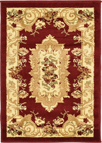 (Unique Loom Versailles Collection Traditional Classic Red Area Rug (2' x)