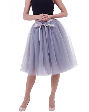 8f0433e604364 Comall Women Tiered Midi Tulle Skirts Adult Tutu Knee Length Wedding  Bridesmaid Engagement Skirt Grey