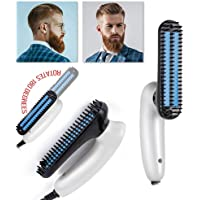 BIKUUL Foldable Beard straightener Brush for man, with Ceramic plates Beard Straightening Comb,Beard Shaping Tool Suitable for Travelling and Home,White Color