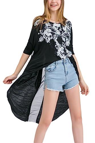 La Mujer Casual 3 / 4 Manga Alto Bajo Asimétrico Skeleton T Shirt Blusas Tops