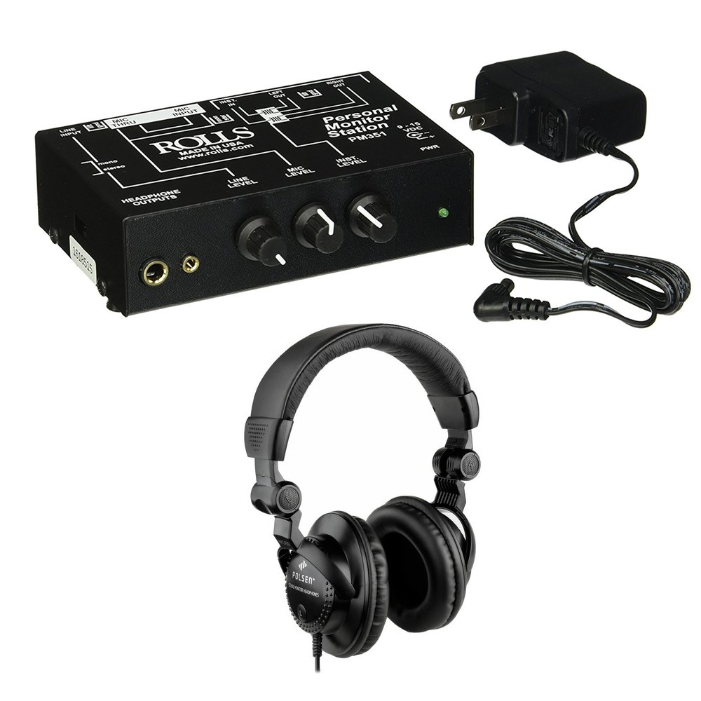 Rolls PM351 Personal Monitor Station with Polsen HPC-A30 Studio Monitor Headphones