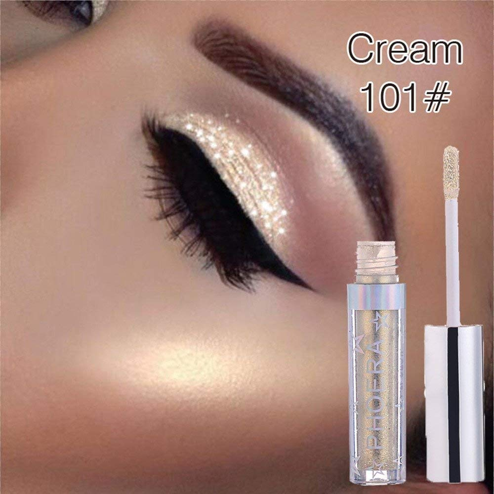 Highpot Glitter Liquid Eyeshadow 12 Colors Long Lasting Waterproof Sparkling Eyeliner Eye Shadow (A)