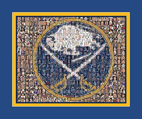NHL Buffalo Sabres Photo Mosaic Print Designed Using Over 60 Sabre Player Images. 8x10