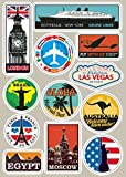 Waterproof Removable Car Sticker Styling World Traveller Vintage Travel Stickers for Suitcases Luggage Laptop Guitar PVC Sticker