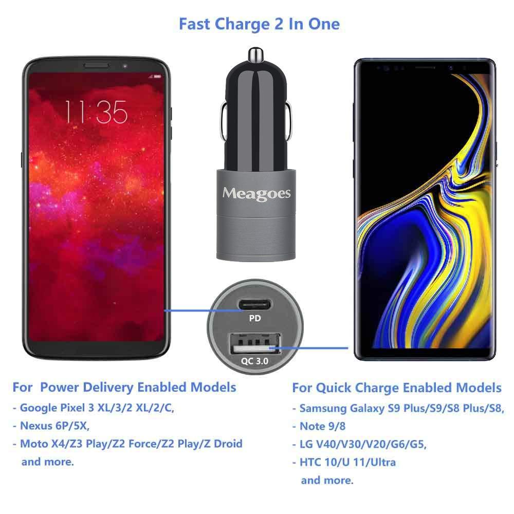 Amazon.com: meagoes USB rápido PD Cargador de coche, entrega ...