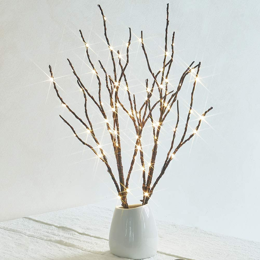 Hairui Twig Branches with Fairy LED Lights 18IN 70LED Battery Operated Lighted Brown Willow Branches for Home Party Decoration Indoor Outdoor Use (Vase Excluded)