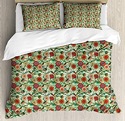 Modern Duvet Cover Set King SizeMandala Style Colorful Duvet Cover SetDecorative 3 Piece Bedding Set with 2 Pillow Shams