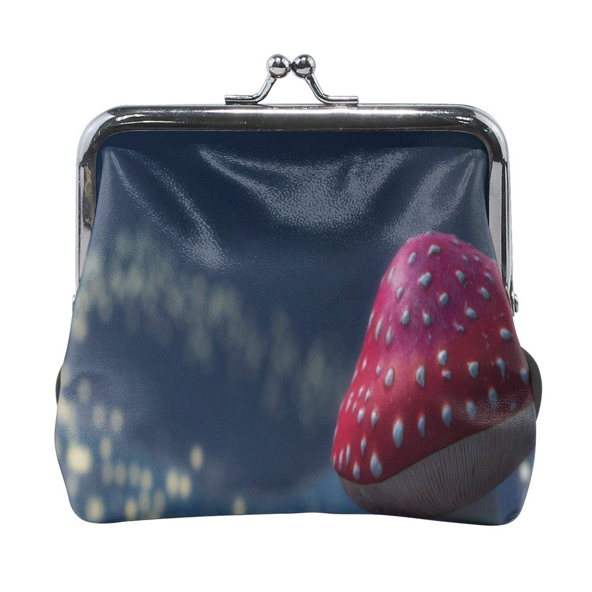 Poream Firefly Red Small Mushroom Customized Retro Leather Cute Classic Floral Coin Purse Clutch Pouch Wallet For Girls And Womens
