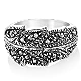 925 Sterling Silver Marcasite Bay Ivy Leaves Leaf Vine Wrap Around Band Ring Size 6 - Nickel Free