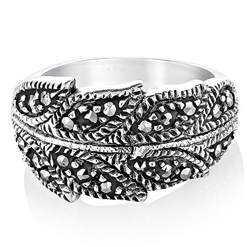 - 925 Sterling Silver Marcasite Bay Ivy Leaves Leaf Vine Wrap Around Band Ring Size 7