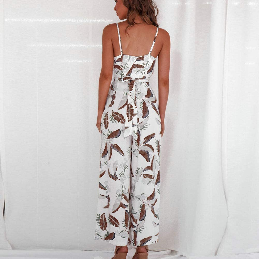 kebyy Women Leaf Print Jumpsuit Jumper Casual Loose Sling Rompers Party Holiday