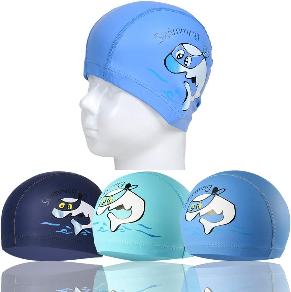 RETON Casquillo de natación impermeable para niños Sombrero de natación transpirable para envolver los niños Sombrero de natación con recubrimiento de PU Patrón de dibujos animados