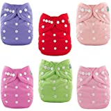 ALVABABY Cloth Diapers Pocket Washable Adjustable Reuseable Cloth Diapers Nappies Boys Girls 6 Pack With 12 Inserts