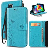 S5 Case, Korecase Premiun Wallet Leather Credit Card Holder Butterfly Flower Pattern Flip Folio Stand Case for Samsung Galaxy S5 NEO With a Wrist Strap - Blue