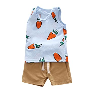 Boys' Clothing Kids Baby Boys Vest Tops Striped Pants 2pcs Set Summer Easy To Repair Mother & Kids