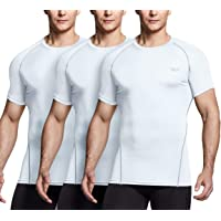 TSLA Men's (Pack of 1, 2, 3) Cool Dry Short Sleeve Compression Shirts, Athletic Workout Shirt, Active Sports Base Layer…