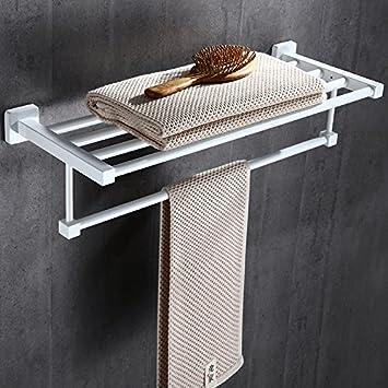 LHbox Tap Doble de Acero Inoxidable Toallas de baño Blanco nórdico Toallas de baño Doble Capa de Acero Inoxidable de fabricación de Metal, Longitud 50 cm.
